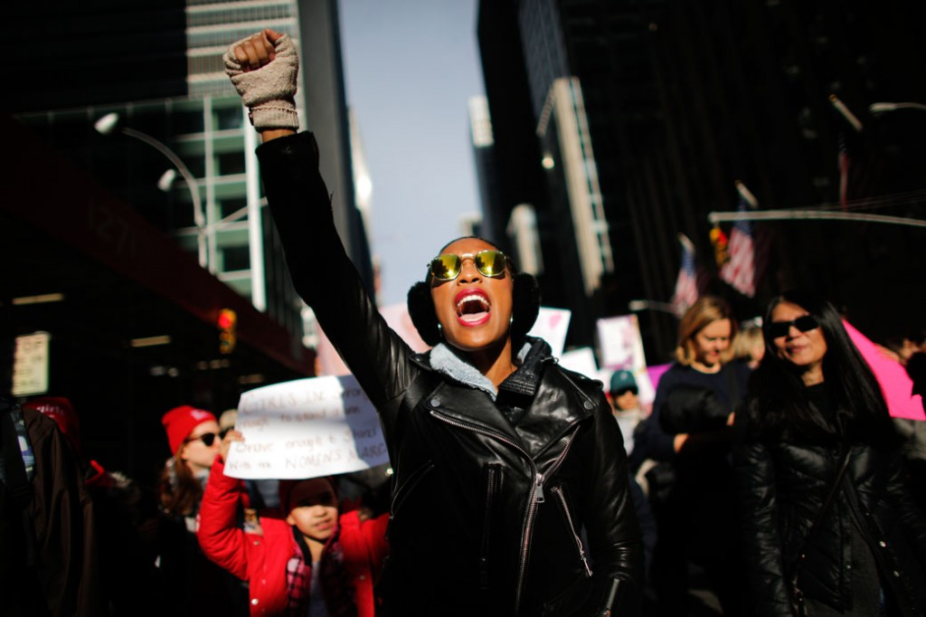 A woman shouts as she attends the Women's March in New York City, on January 20, 2018.