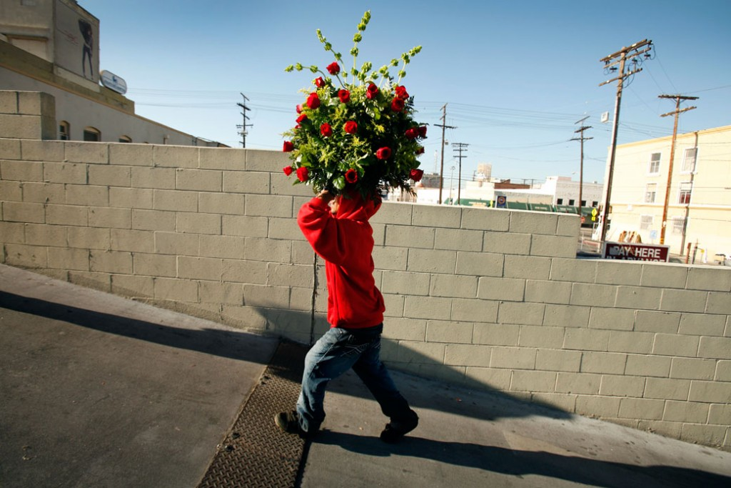A man carries a huge bouquet of roses in Los Angeles, Valentine's Day 2012.