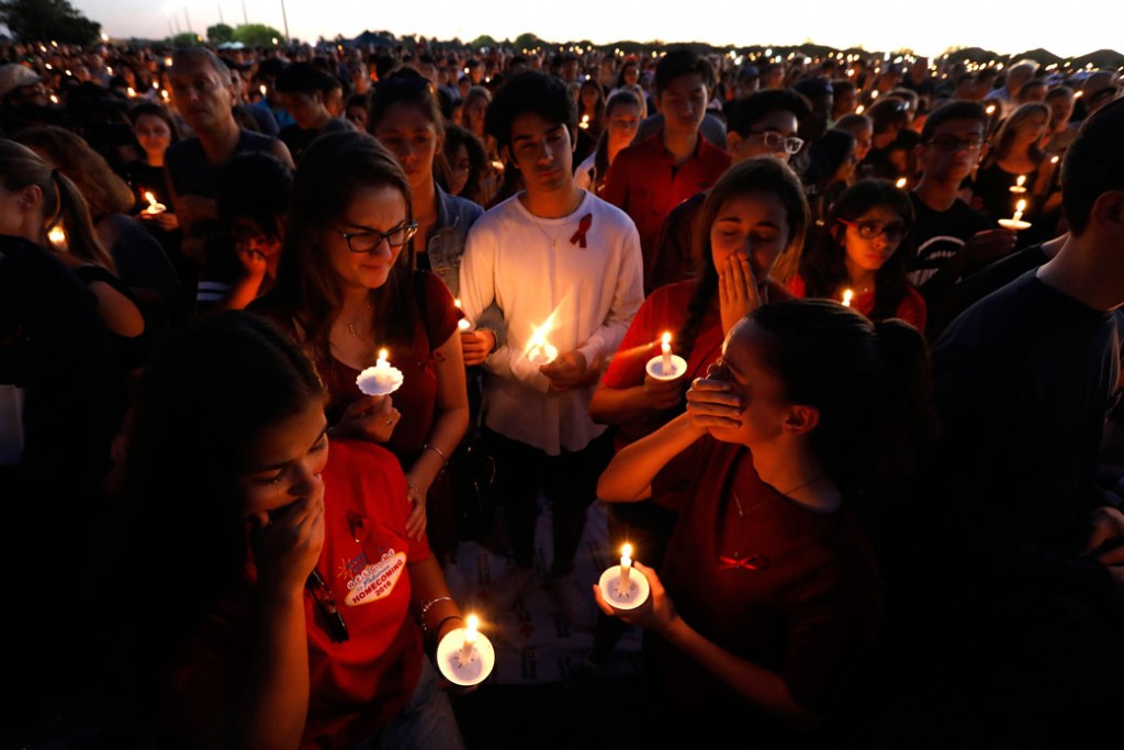 Thousands gathered for an evening vigil at Pine Trails Park in Parkland, Florida, to remember those where were killed and injured in the shooting, on February 15, 2018, in Parkland, Florida.