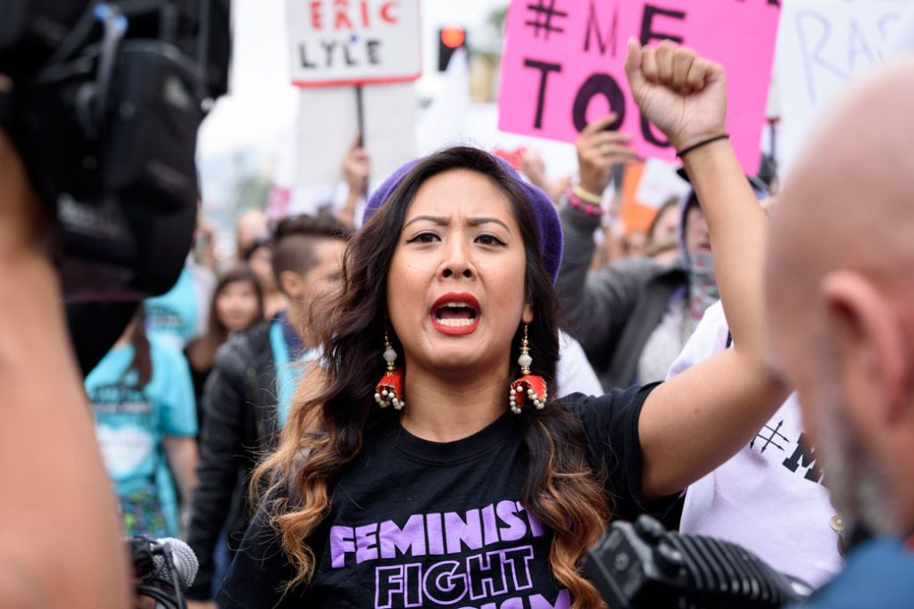 Protesters attend a #MeToo rally to denounce sexual harassment and assaults of women in Los Angeles, on November 12, 2017.