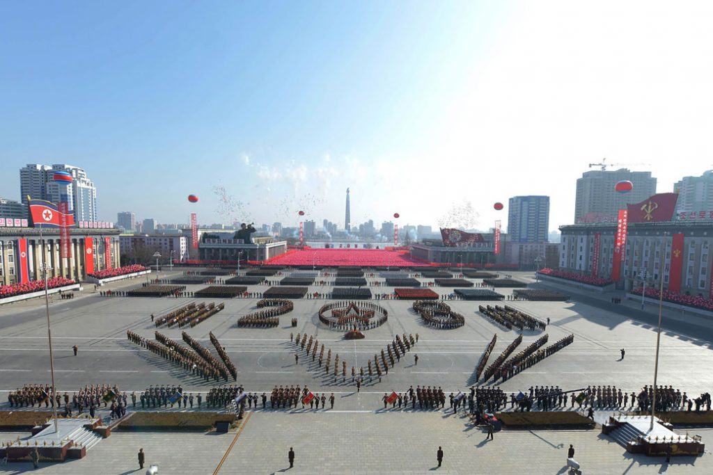 North Korea holds a military parade in Kim Il Sung Square to mark the 70th anniversary of the Korean People's Army, February 2018.
