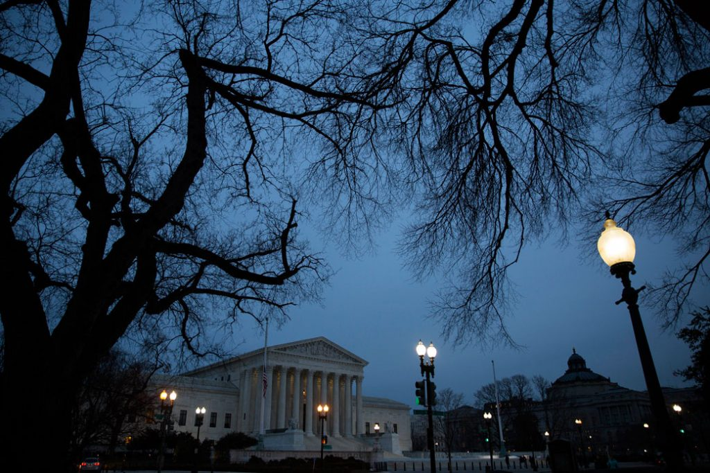 The U.S. Supreme Court in Washington, D.C., is seen at dusk, February 2016.