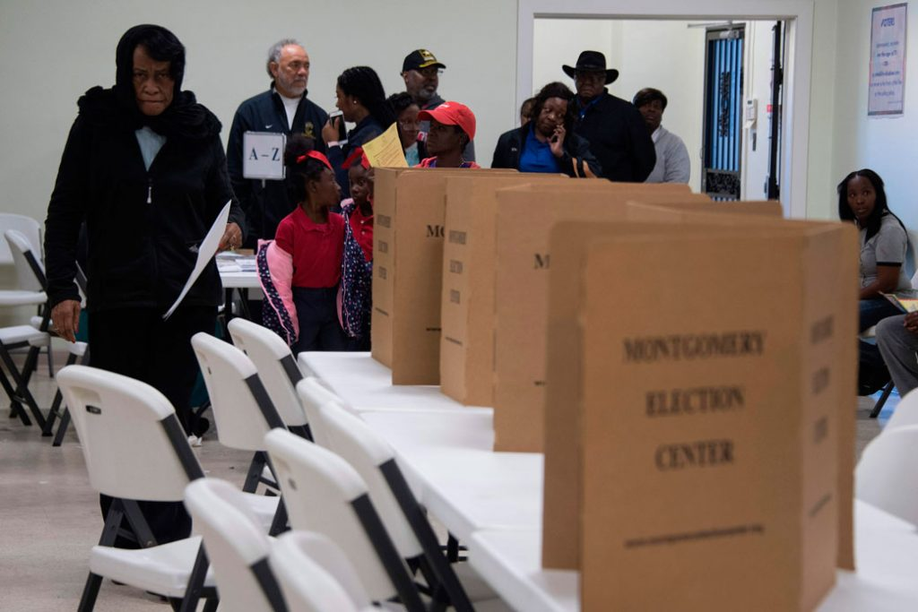 Voters file in to vote at the Beulah Baptist Church polling station in Montgomery, Alabama, on December 12, 2017.