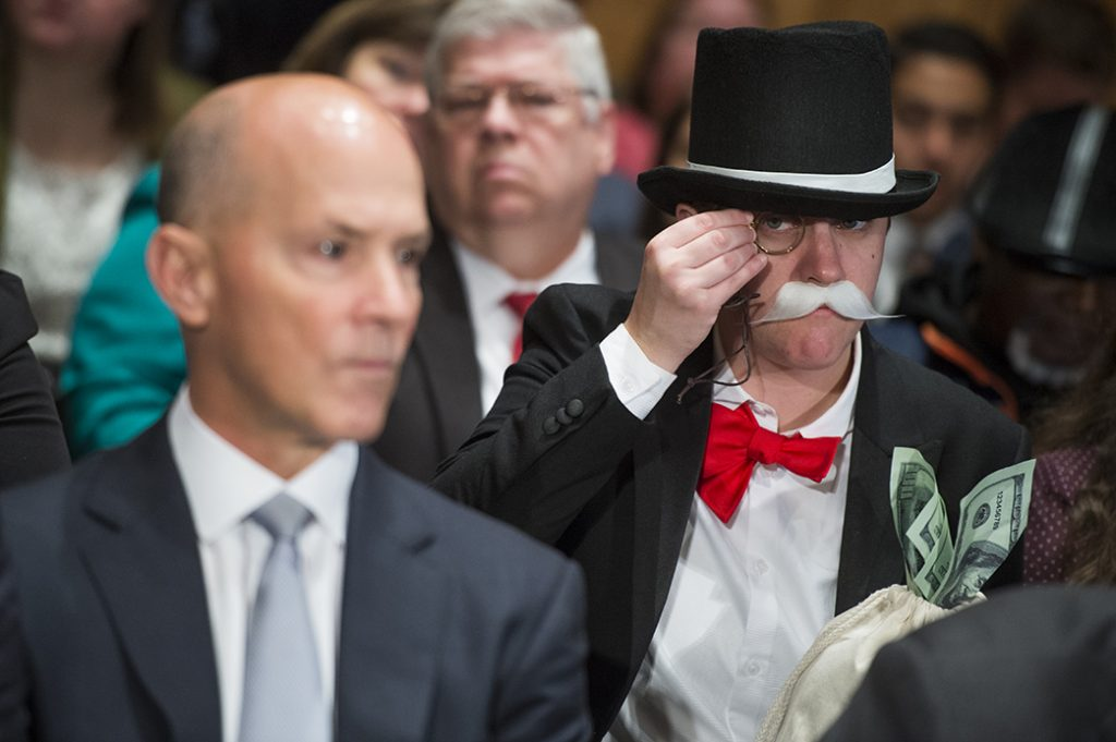 Amanda Werner Who Is Dressed As Monopoly S Rich Uncle Pennybags Sits Behind Richard Smith
