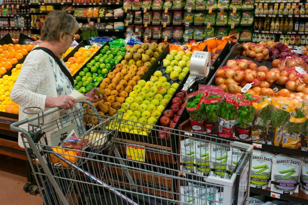 A woman shops for fresh fruit, September 2017.