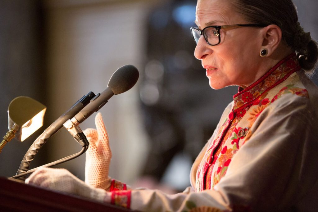 Justice Ruth Bader Ginsburg speaks at an annual Women's History Month reception hosted by Rep. Nancy Pelosi (D-CA) on Capitol Hill in Washington, D.C., March 2015.