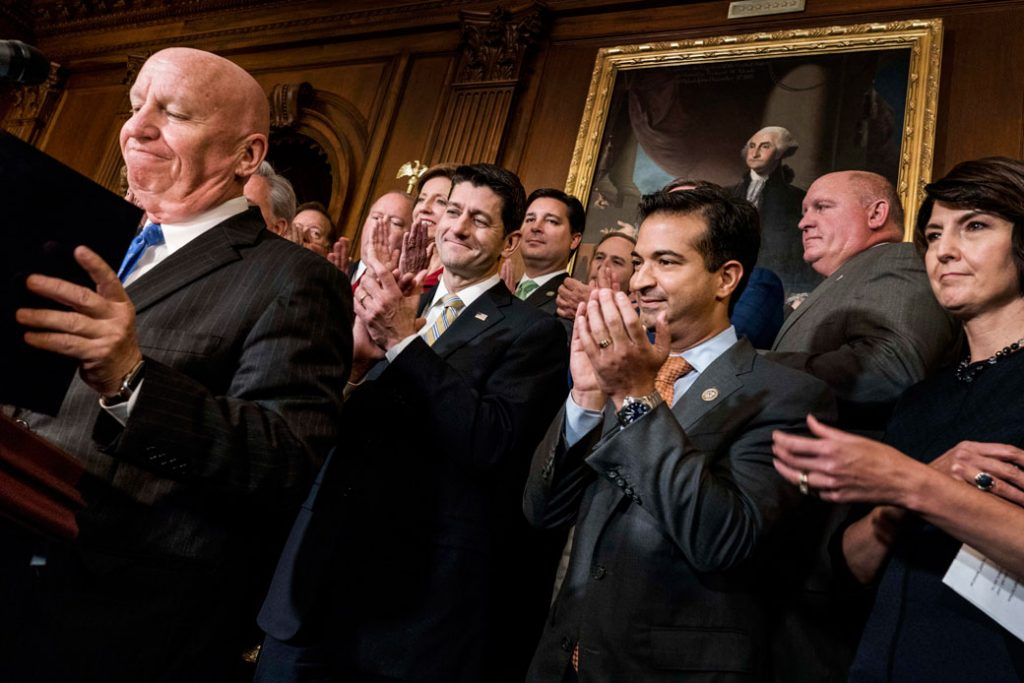 Speaker of the House Paul Ryan (R-WI) and other congressional majority leaders celebrate the passage of the House tax bill on Capitol Hill in Washington, D.C., November 16, 2017.