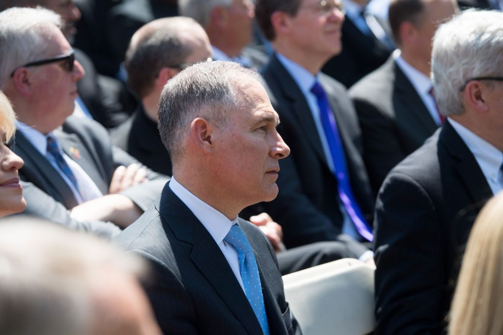 EPA Administrator Scott Pruitt attends the National Day of Prayer ceremony hosted by President Donald Trump in the Rose Garden of the White House in Washington, D.C., May 3, 2018.