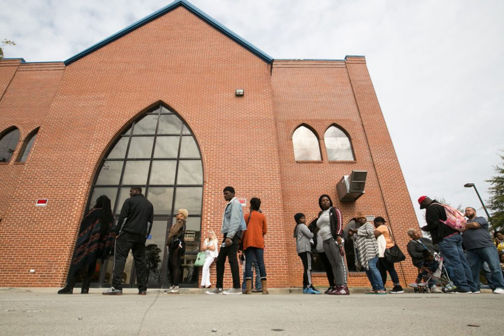 Voters line up in Atlanta to cast their ballots in the 2016 presidential election on November 8, 2016.
