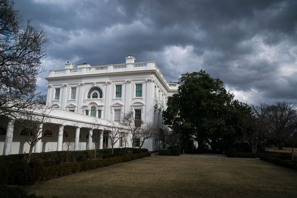 Storm clouds float over the White House, January 2018.