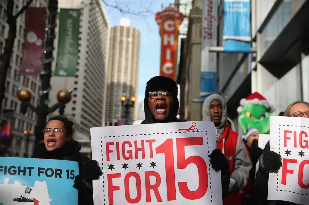 Organizers demand an increase in pay for fast-food and retail workers, Chicago, December 2013.