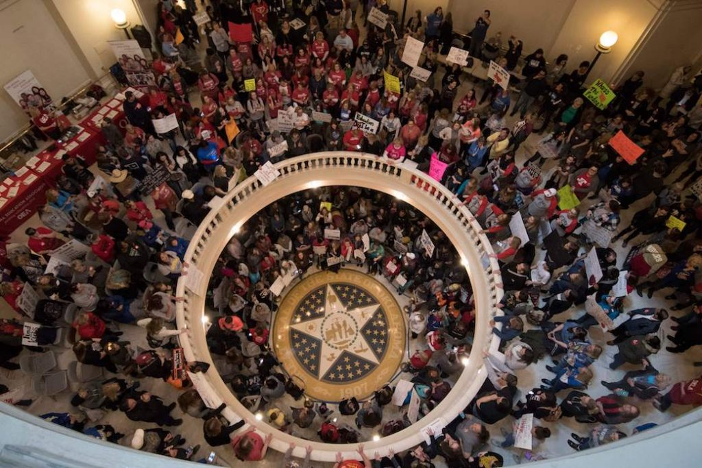 Teachers rally at the state capitol in Oklahoma City to demand lawmakers increase funding for public schools, April 2018.