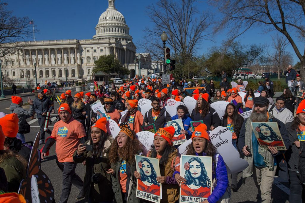 DACA supporters rally outside the U.S. Capitol on March 5, 2018.