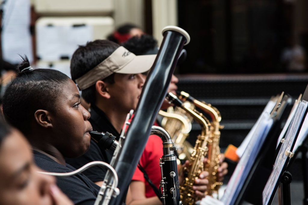 New York City high school students perform a concerto as part of Make Music Day on June 21, 2017.