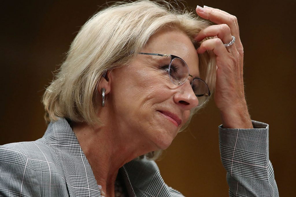 Education Secretary Betsy DeVos testifies during a Senate Appropriations subcommittee hearing on Capitol Hill, June 5, 2018, in Washington.