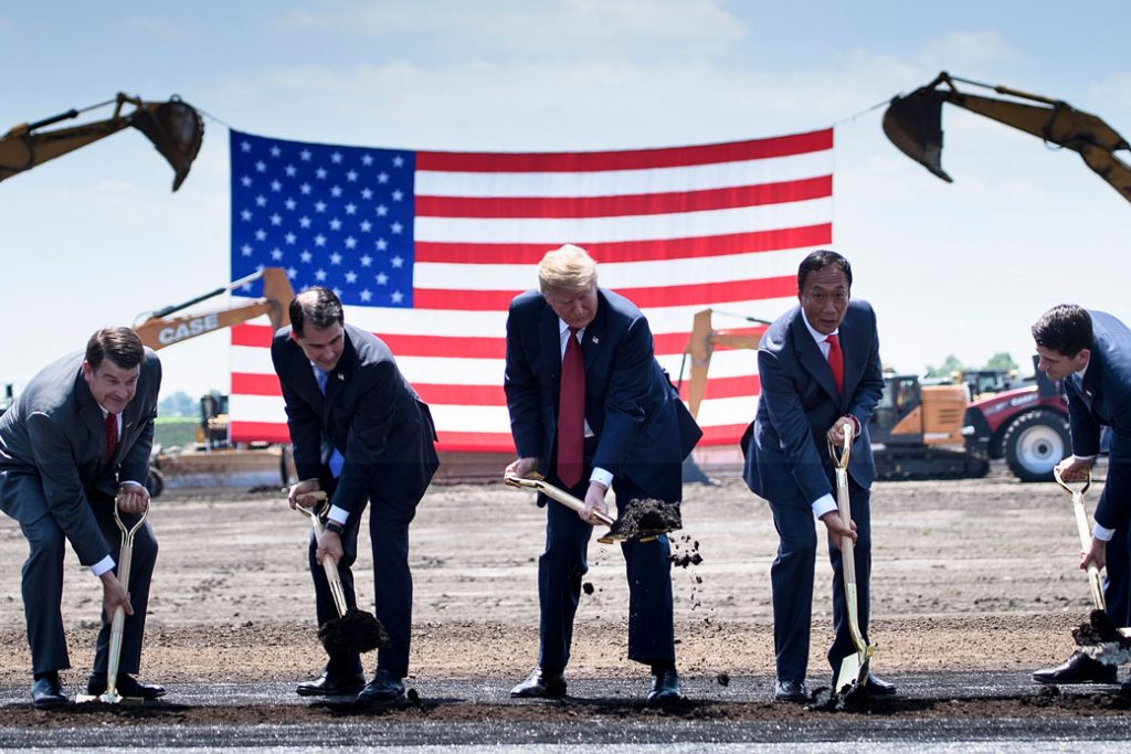 U.S. President Donald Trump participates in a groundbreaking ceremony for a Foxconn facility at the Wisconn Valley Science and Technology Park in Mount Pleasant, Wisconsin, on June 28, 2018.