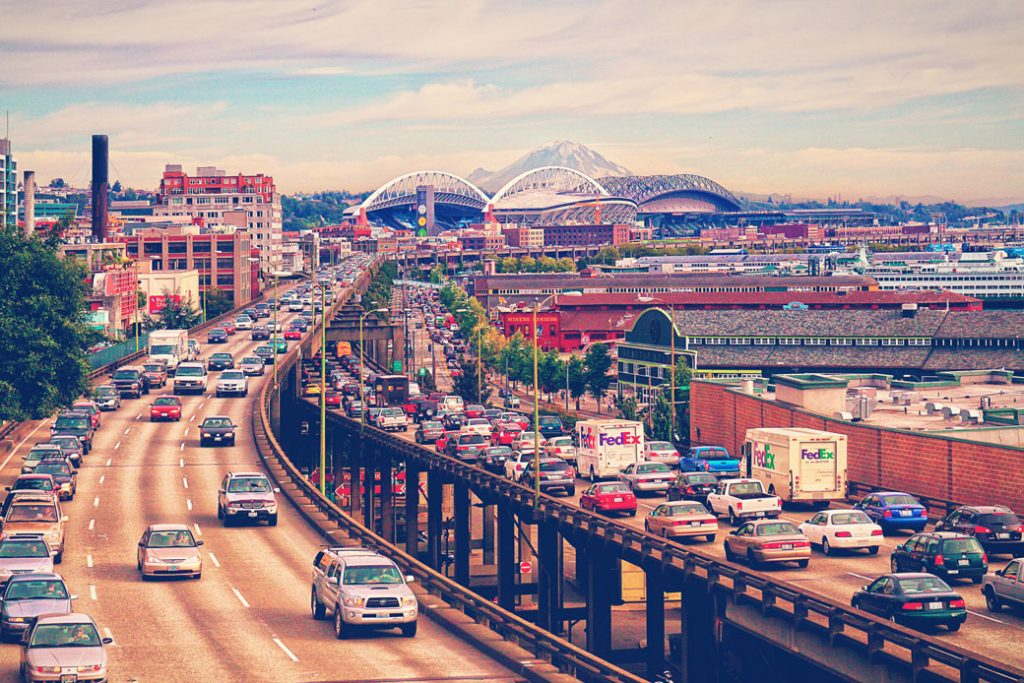 Commuters wade through heavy traffic on a Seattle freeway, August 2009.