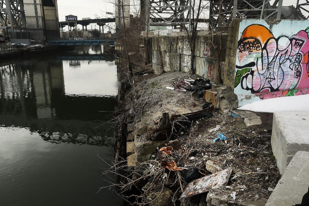 President Trump's proposed budget cuts risk damaging the EPA's cleanup of the Gowanus Canal, a designated Superfund site in New York City, March 2017.