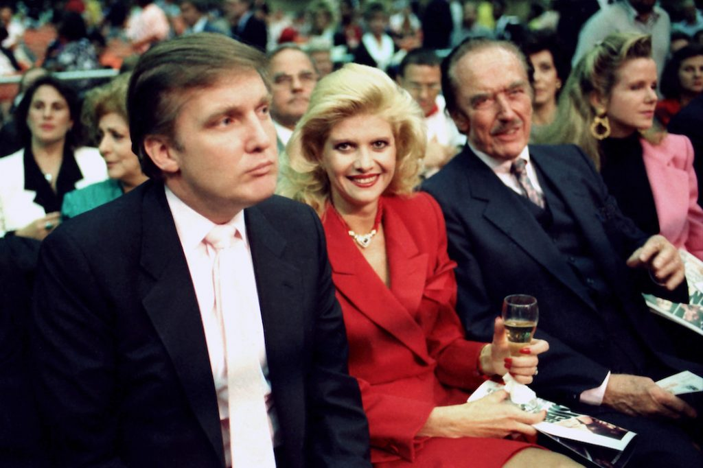 Donald Trump with first wife Ivana and father Fred Trump, January 1988.