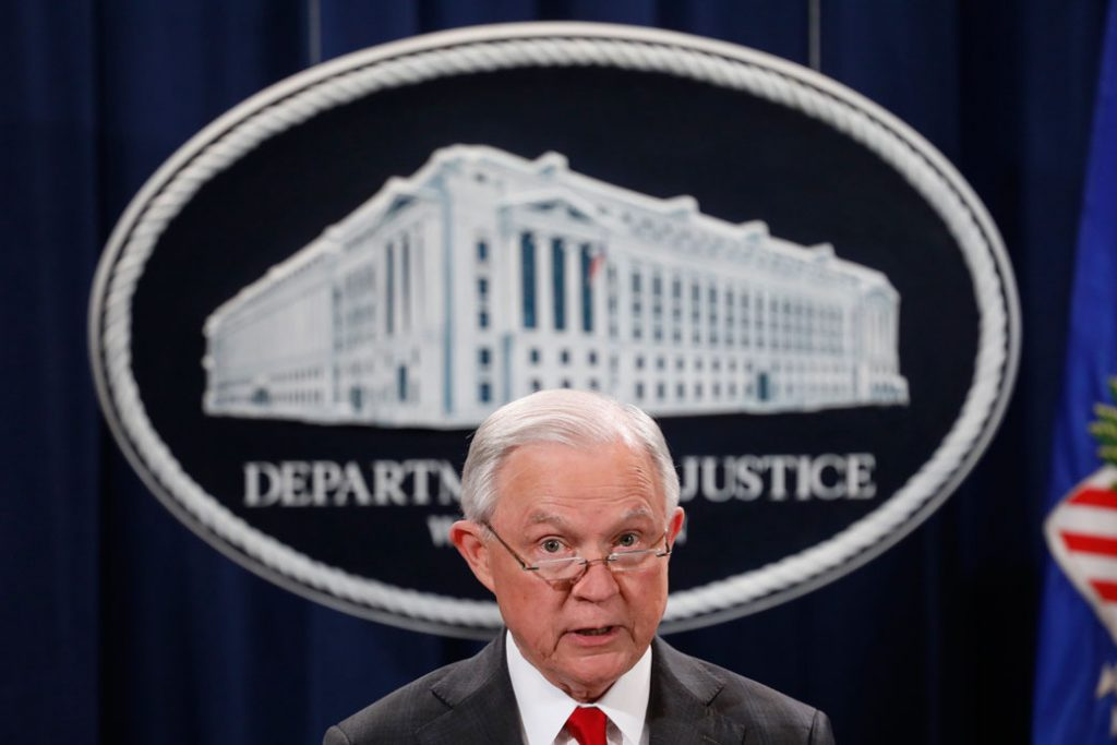 Former U.S. Attorney General Jeff Sessions speaks at a press conference at the Department of Justice in Washington, D.C., on October 26, 2018.