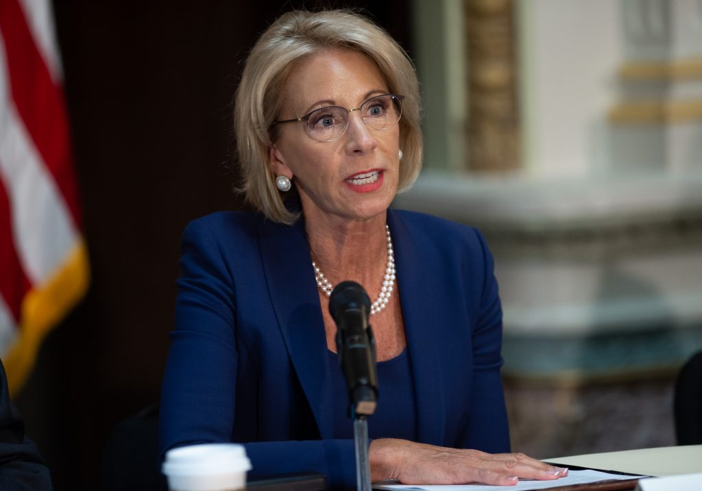 U.S. Secretary of Education Betsy DeVos speaks during the fifth meeting of the Federal Commission on School Safety on August 16, 2018.