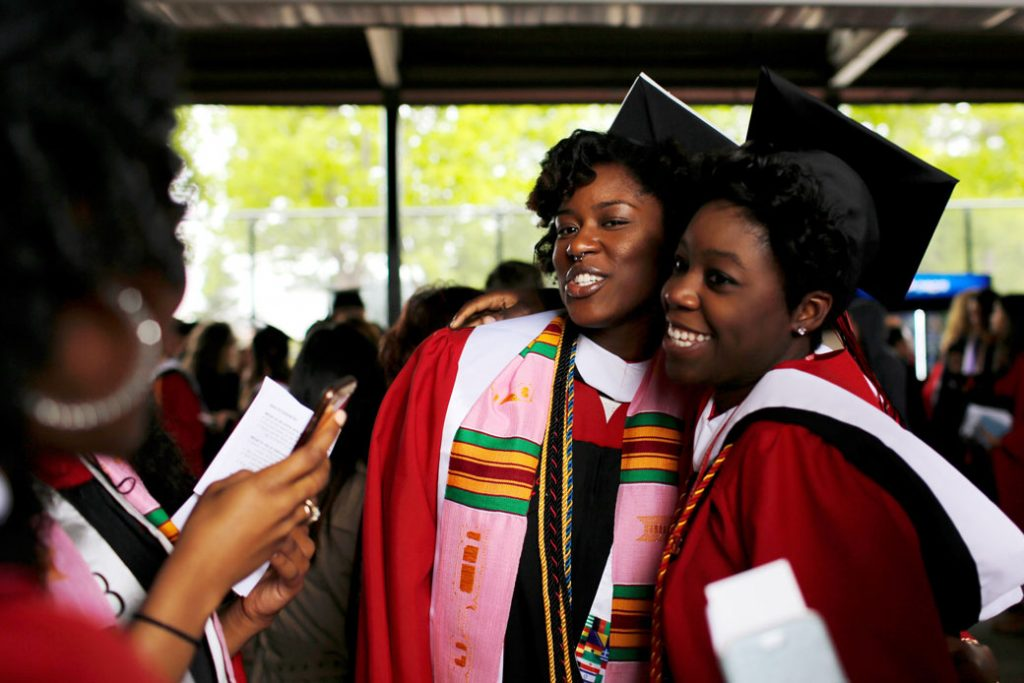 Graduating students attend their university's commencement ceremony on May 15, 2016, in New Jersey.