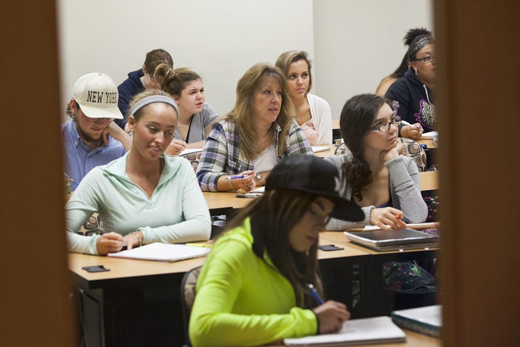 Students take a community college class in Maryland, October 2015.
