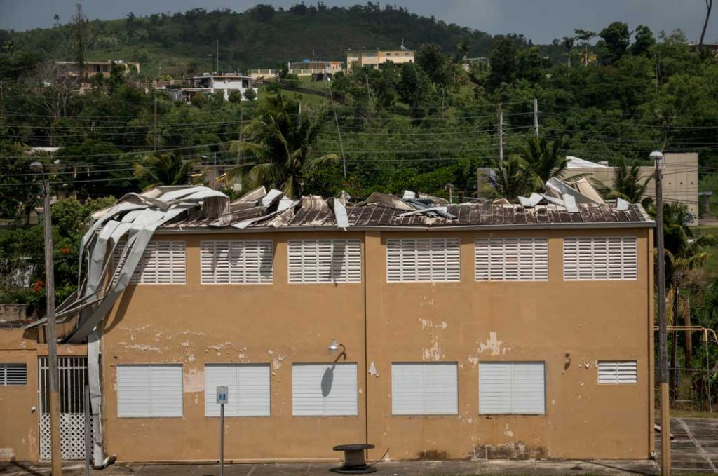 Visible roof damage to a school in Puerto Rico, September 2018.
