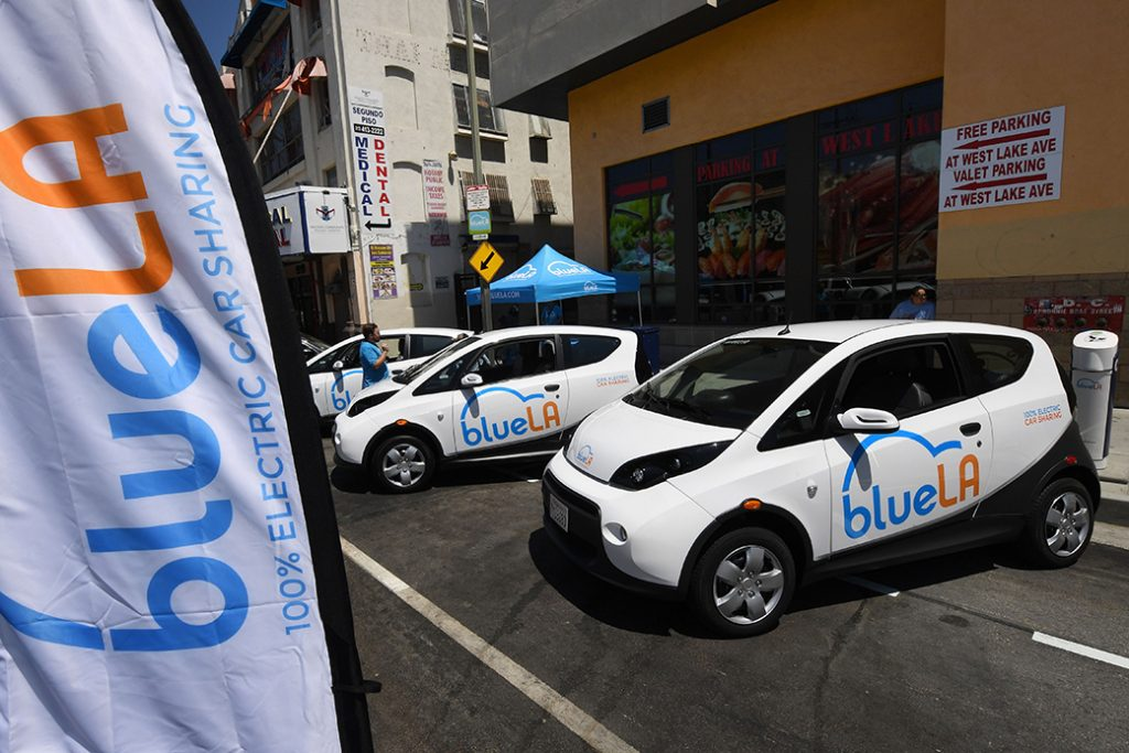 A pay and charging station for BlueLA was unveiled in Los Angeles on June 9, 2017.