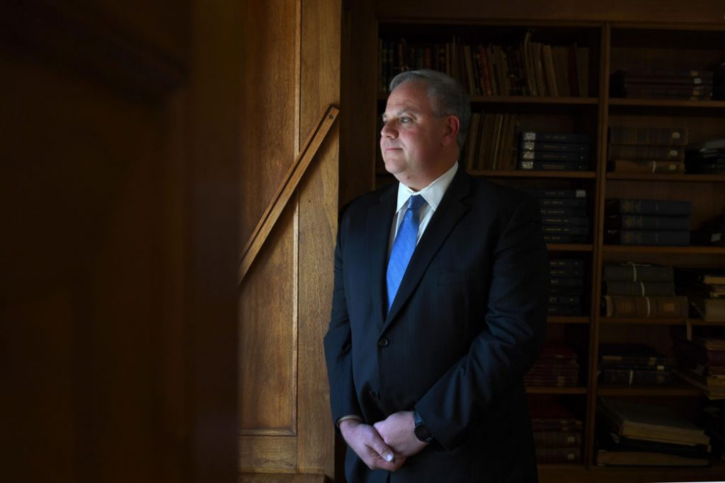 Acting Secretary of the Interior David Bernhardt stands in the library at the U.S. Department of the Interior in Washington, D.C., October 2018.