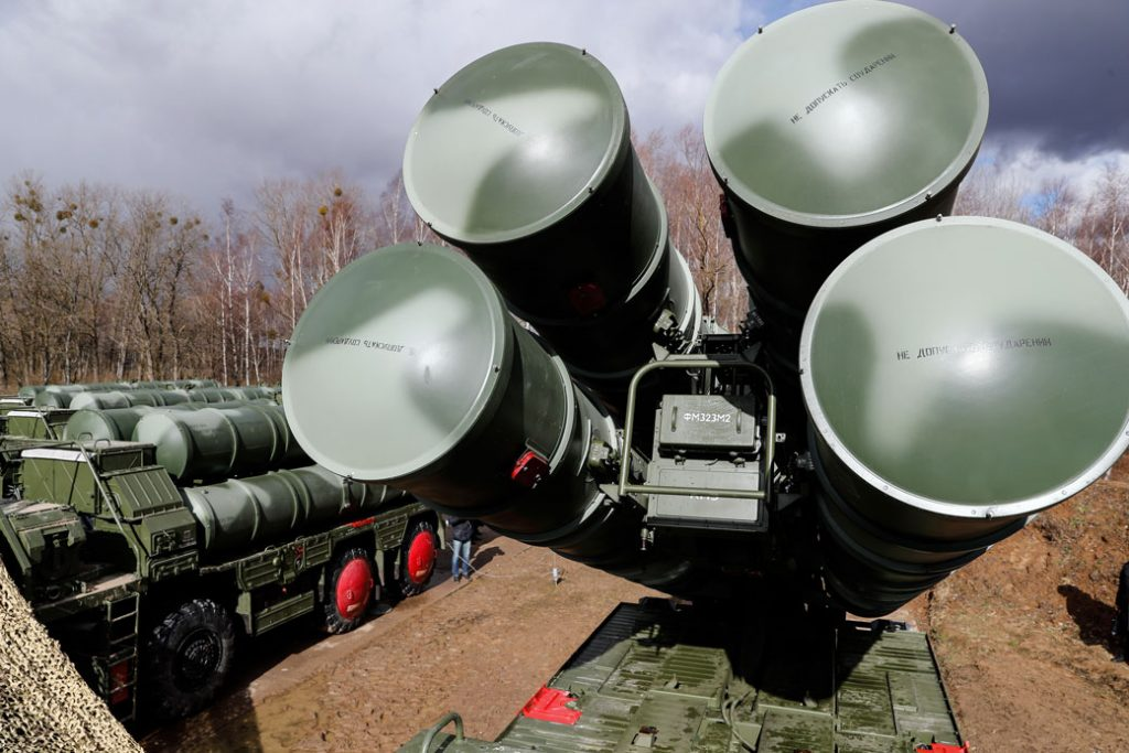 A Russian-made S-400 Triumf anti-aircraft missile system is seen in operation.