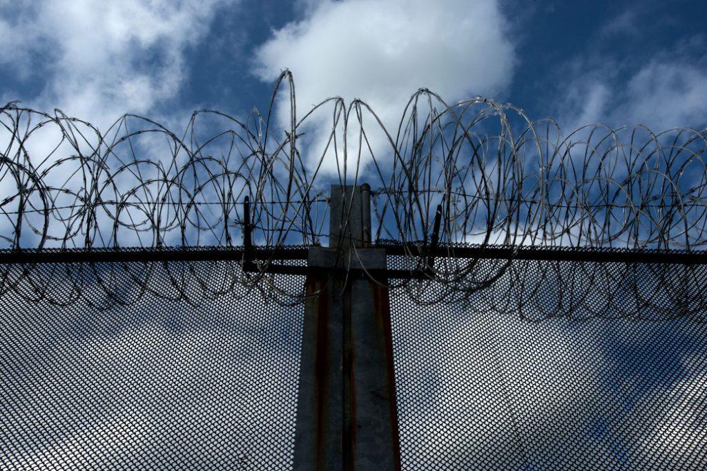 Razor wire surrounds Beaumont Juvenile Correctional Center in Beaumont, Virginia, April 2013.