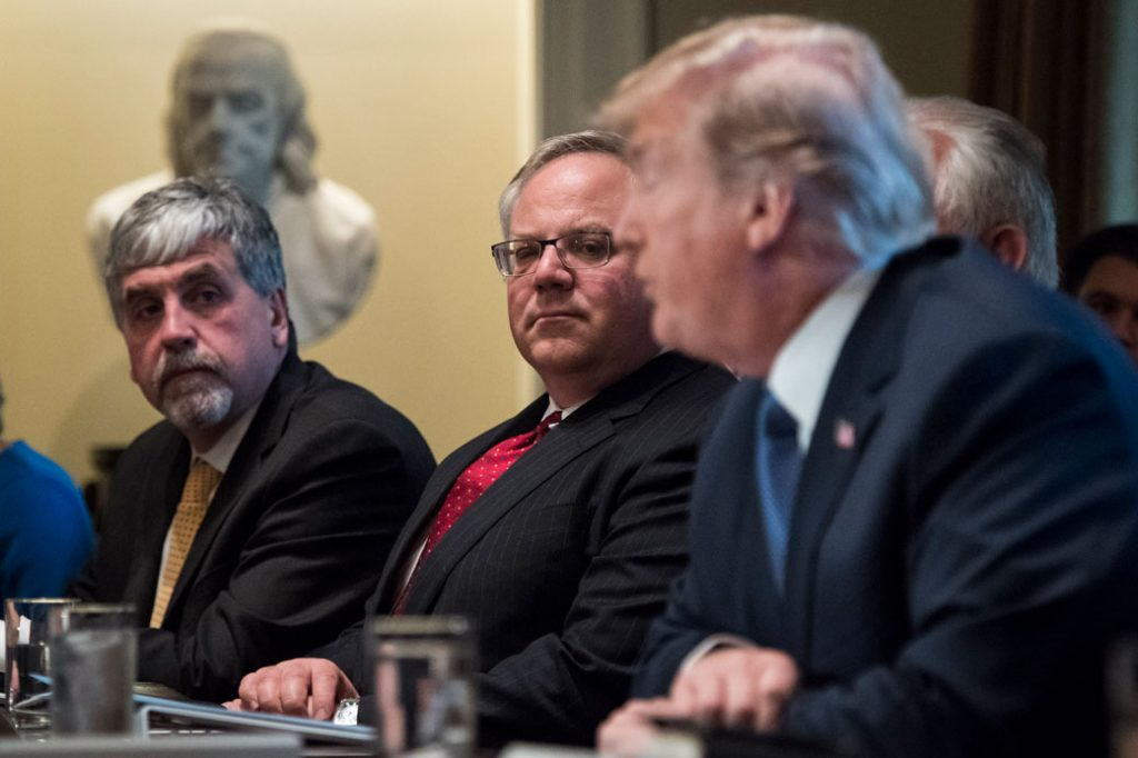 Deputy Secretary of Department of Interior David Bernhardt listens as President Donald Trump speaks, November 2017.