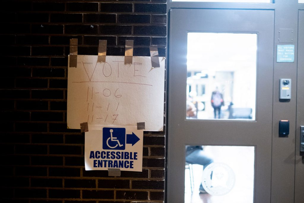 A wheelchair-accessible entrance for disabled voters is seen in Pittsburgh, November 6, 2018.