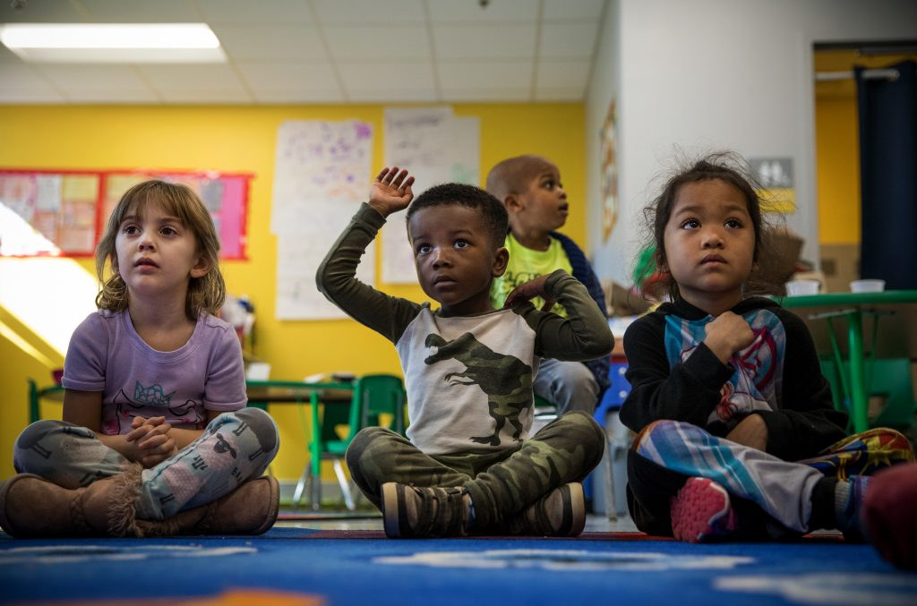 Preschool students attend a class at a charter school in Washington, D.C., February 2019.