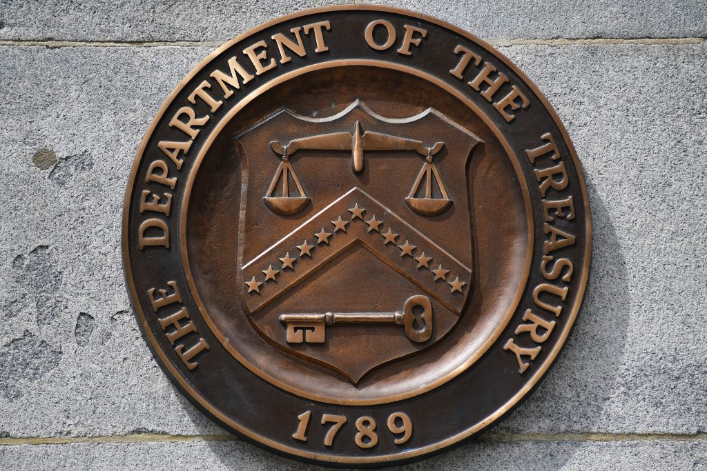 The seal of the Department of the Treasury is seen at the Treasury Department in Washington, D.C., on April 16, 2019.