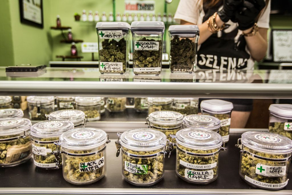 Preparations begin on the first day of the legalization of recreational marijuana sales in California, January 2018.