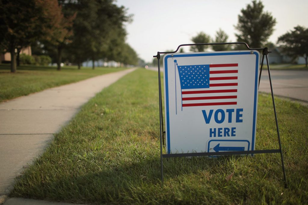 A sign marks the location of a polling place in Janesville, Wisconsin.