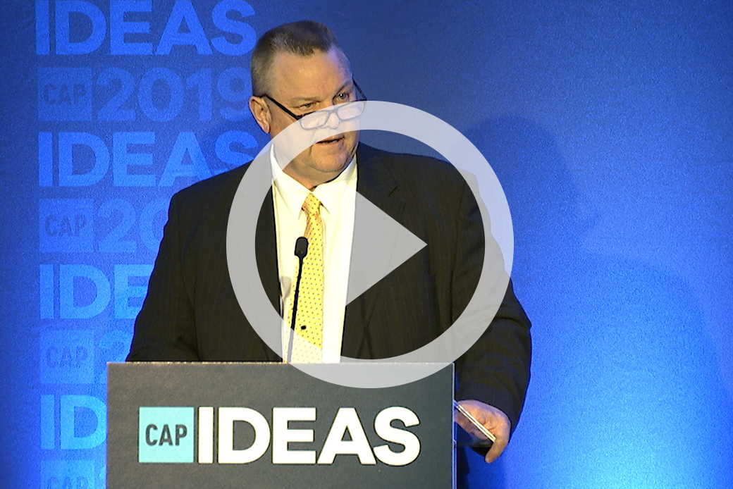 Sen. Jon Tester (D-MT) speaks at the 2019 CAP Ideas Conference.