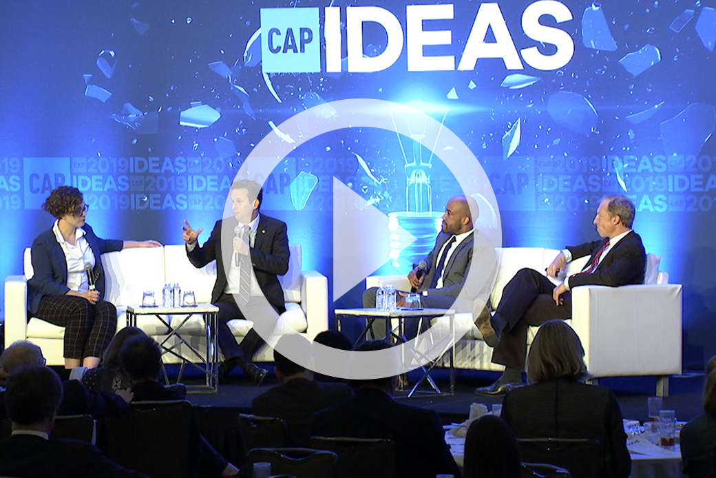 Sen. Brian Schatz (D-HI), Wisconsin Lt. Gov. Mandela Barnes (D), and Tom Steyer spoke with Emily Holden of The Guardian at the 2019 CAP Ideas Conference.
