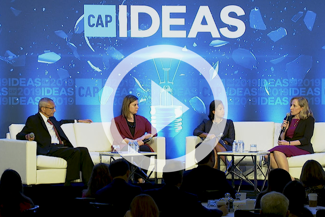 Former U.S. Ambassador Susan Rice and Reps. Elissa Slotkin (D-MI) and Abigail Spanberger (D-VA) speak with CAP founder John Podesta at the 2019 CAP Ideas Conference.