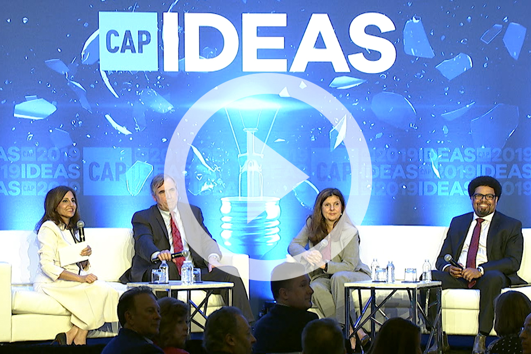 CAP President and CEO Neera Tanden sits with Sen. Jeff Merkley (D-OR), Darrick Hamilton, and Betsey Stevenson at the 2019 CAP Ideas Conference.
