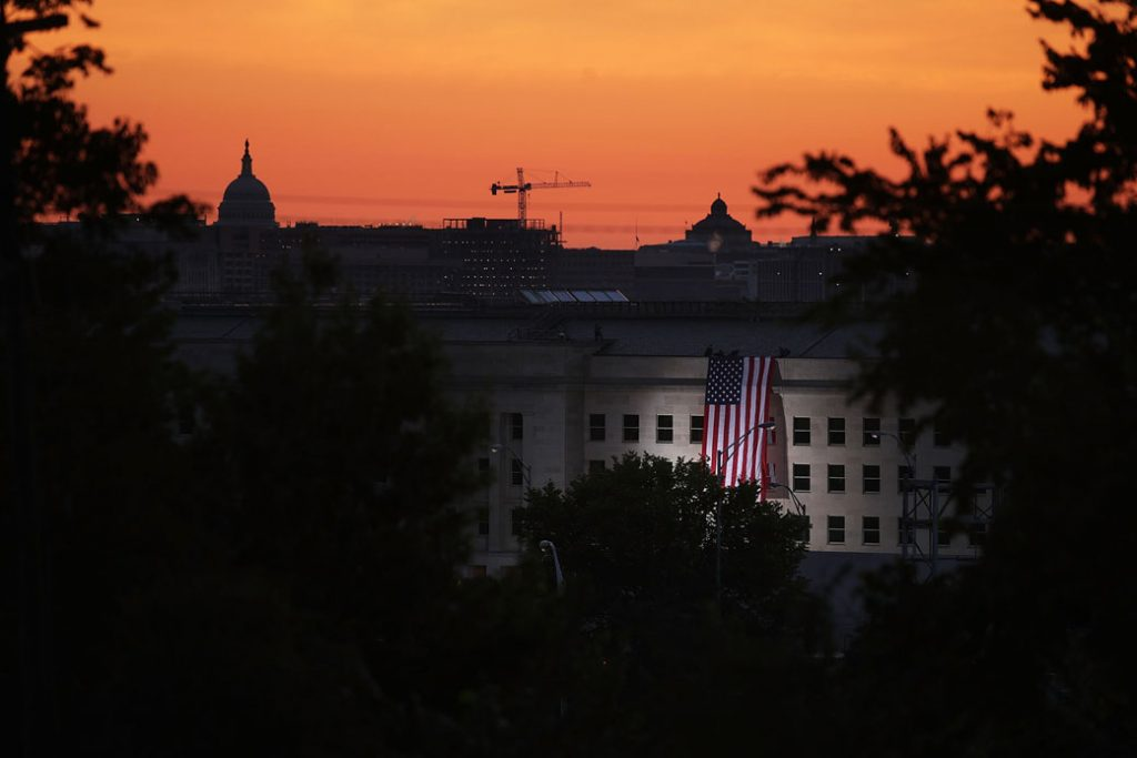 An American flag is unfurled on the side of the Pentagon in Arlington, Virginia, September 2017.
