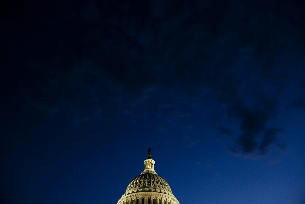 Darkness falls over the Capitol, July 2011, in Washington, D.C.