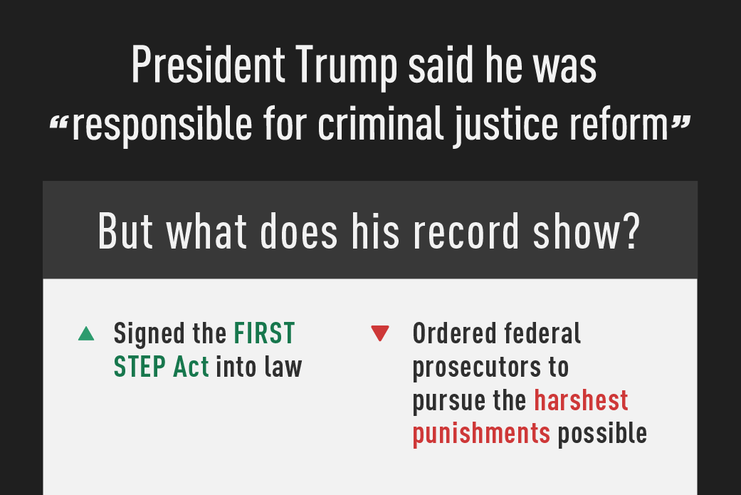 Thumbnail of infographic illustrating President Trump's record on criminal justice reform