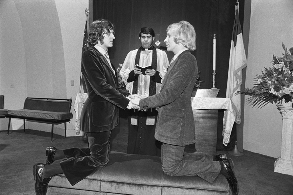 The Rev. Troy Perry officiates a religious wedding ceremony in Los Angeles the 1970s.