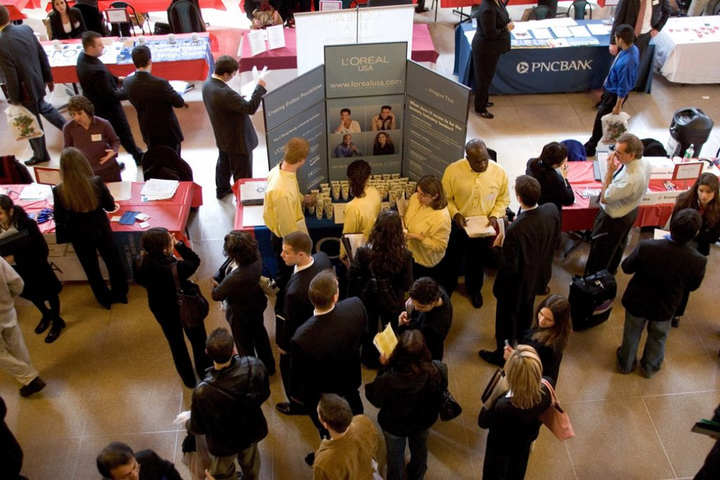 Job seekers attend a career fair at Rutgers University in New Brunswick, New Jersey, January 2006.