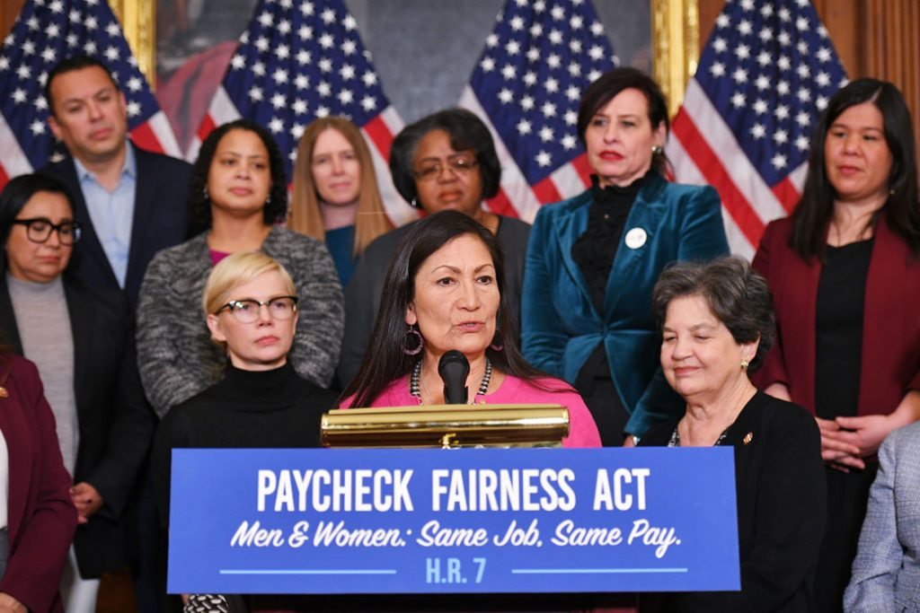 Rep. Deb Haaland (D-NM) speaks at an event to celebrate the Paycheck Fairness Act on Equal Pay Day, April 2019.
