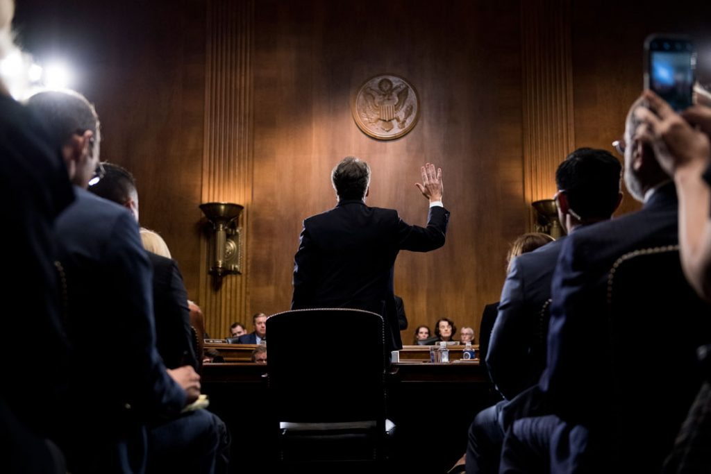 Then-Supreme Court Justice nominee Brett Kavanaugh is sworn in before the Senate Judiciary Committee in Washington, D.C., September 2018.