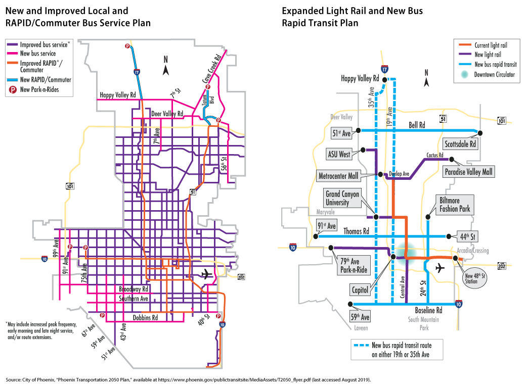 Two transportation maps from the City of Phoenix showing the new local and rapid and commuter bus service plan and the expanded light rail and new bus rapid transit plan